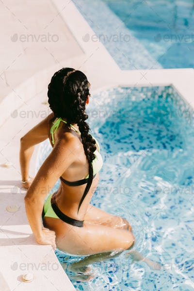 hot sexy woman relax in swimming pool