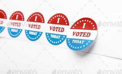 I voted today stickers for patriotical elections 2020 in the USA