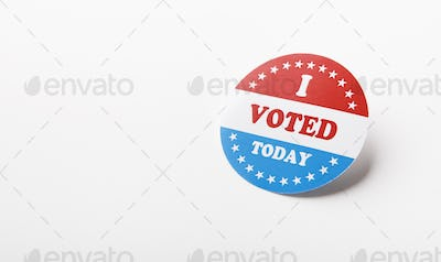 American vote sticker isolated on white background