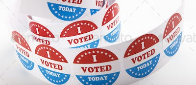 Presidential US election 2020, vote stickers roll close up