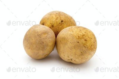 Potato isolated on white background close up.