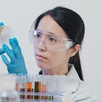 Scientist doing at petri dish