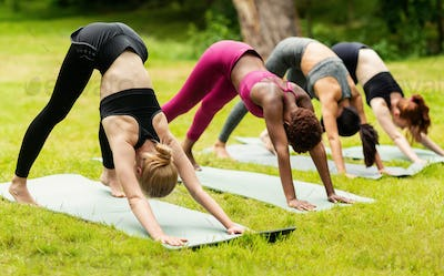 Group of young women doing downward facing dog pose on their yoga class at park