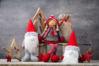 Christmas greeting card. Noel gnome background. Christmas symbol.