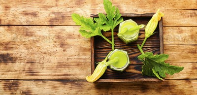 Healthy green smoothie with zucchini
