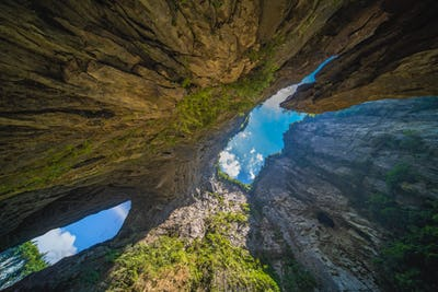 Stunning natural rocky arches in Wulong National Park