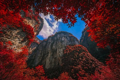 Massive vertical rock walls in Wulong National Park in autumn