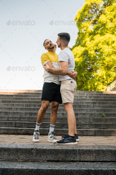Gay couple spending time together at the park.
