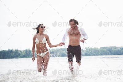 steam running along the water, beautiful summer beach