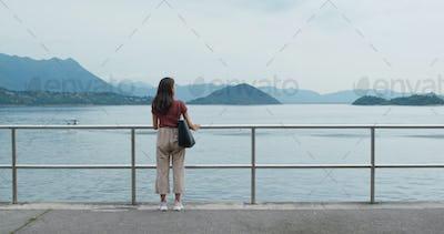 Woman look around the sea