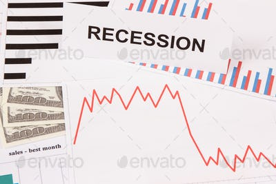 Inscription recession, currencies dollar and declining chart