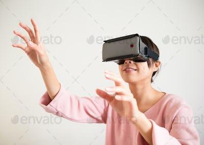 Woman wearing VR-headset