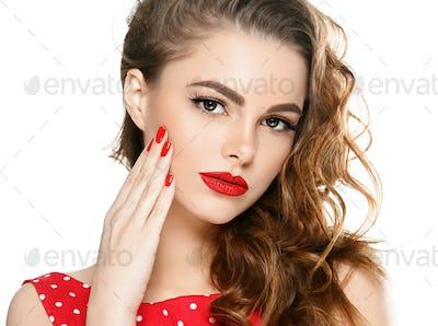 Red lips retro pin up dress woman beauty portrait