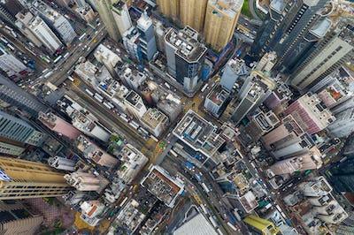 Causeway Bay, Hong Kong 07 May 2019: Top view of Hong Kong city