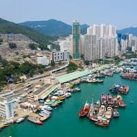 Aberdeen, Hong Kong 11 May 2019: Top view Hong Kong harbour port