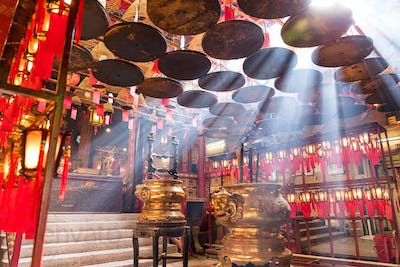 Sheung Wan, Hong Kong 08 May 2017:-Incense Coils in Man Mo temple, Hong Kong