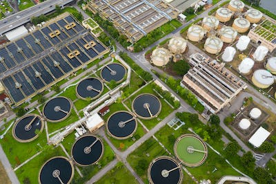 Sha Tin, Hong Kong 17 March 2019: Sewage treatment plant in Hong Kong