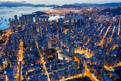 Mong Kok, Hong Kong 26 July 2020: Top view of Hong Kong evening