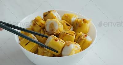 Hong Kong local food Siu Mai, fish cake