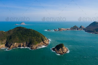 Aerial view of Hong Kong Sai Kung Ninepin Group island