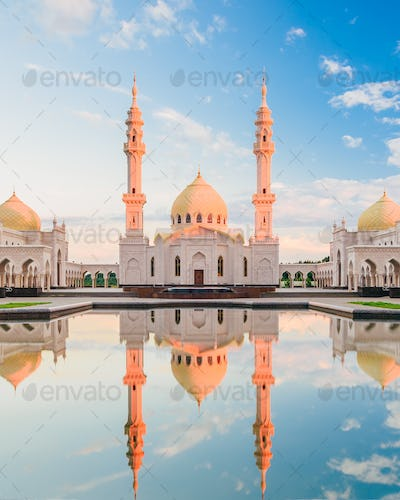 White Mosque with Reflection on Water