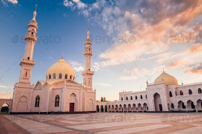 Beautiful White Mosque at Sunset.