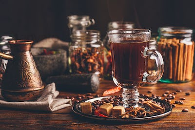 Cup of Coffee with Cezve and Oriental Spices.