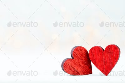 Two Hearts. Valentines day greeting card.
