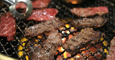 Beef in Japanese barbecue restaurant