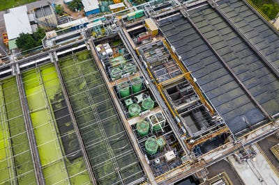 Sha Tin, Hong Kong 17 March 2019: Top view of Hong Kong Sewage treatment plant