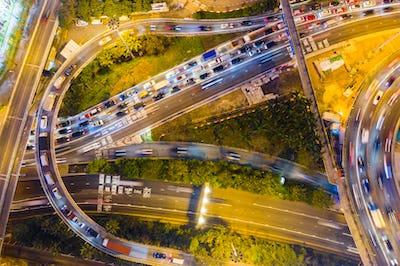 Causeway Bay, Hong Kong 22 February 2019: Top down view of Hong Kong traffic at night
