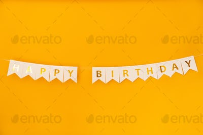Image of happy birthday ribbon with text for party