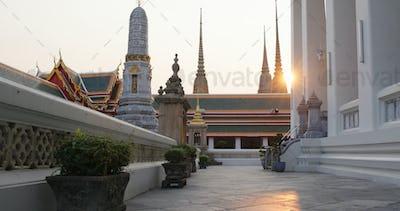 Bangkok, Thailand, 30 March 2020: Sunlight over Grand palace at Thailand