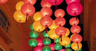 Colorful traditional chinese style lantern hanging outdoor for lunar new year at night