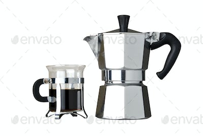 Italian coffeemaker and expresso in glass cup, isolated on white