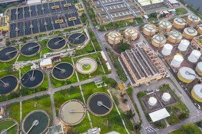 Sha Tin, Hong Kong 17 March 2019: Hong Kong Sewage treatment plant
