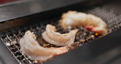 Grill seafood in Japanese restaurant
