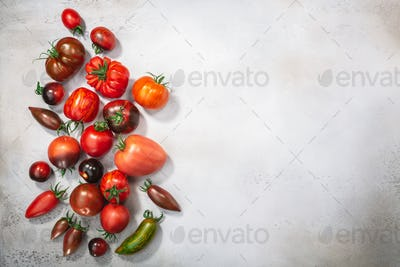 Heirloom tomatoes on light grey concrete backdrop, top view