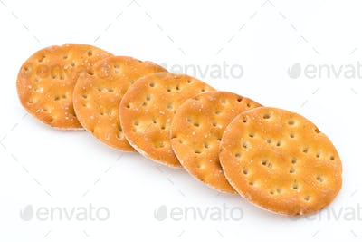 Short pastry cookies isolated on white background.