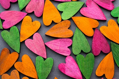 Colored heart on the gray background.