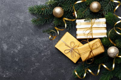 Christmas ornaments and gift boxes flat lay