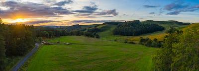 Panorama Sunset In Rural Scotland