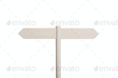 White Wooden sign post with two blank boards pointing in different directions