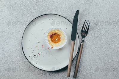 Empty plate with crumbs after eating on concrete background. The concept of the end of celebration