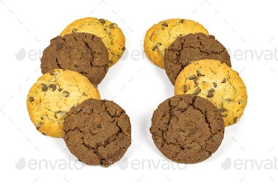Different chocolate chips cookies in a rows