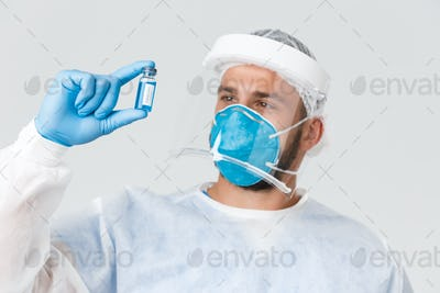 Covid-19 pandemic, virus outbreak, clinic and healthcare workers concept. Satisfied doctor, clinic