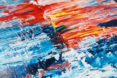 Abstract acrylic background with blue, red and white palette.