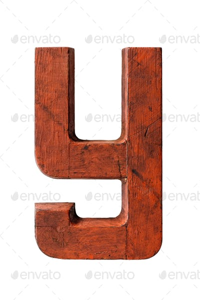 Old wooden painted red letter Y