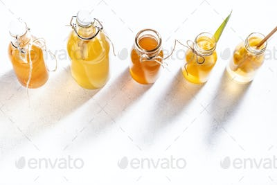 Selection Of Fermented Kombucha Drinks. Homemade probiotic superfood tea