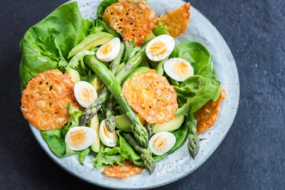 Asparagus Salad with quails eggs and cheese crisps